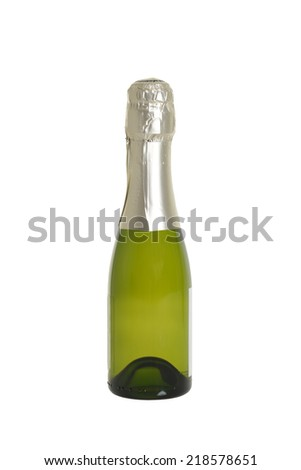 small bottle of champagne - stock photo