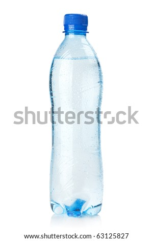 Small bottle of water. Isolated on white background - stock photo