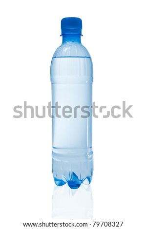 Small bottle of water with reflection on white background