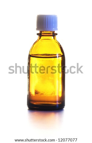 Small bottle with drug isolated over white background - stock photo