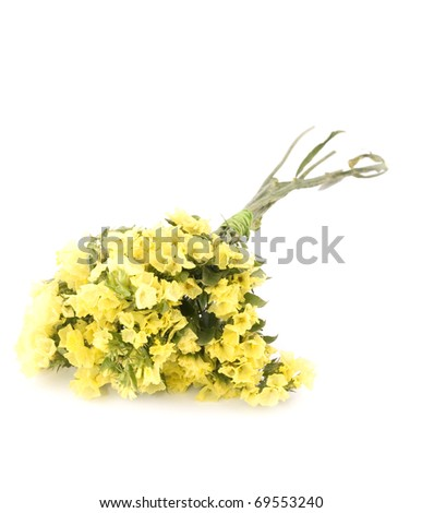Small bouquet yellow statice flowers on stock photo download now small bouquet of yellow statice flowers on white background mightylinksfo