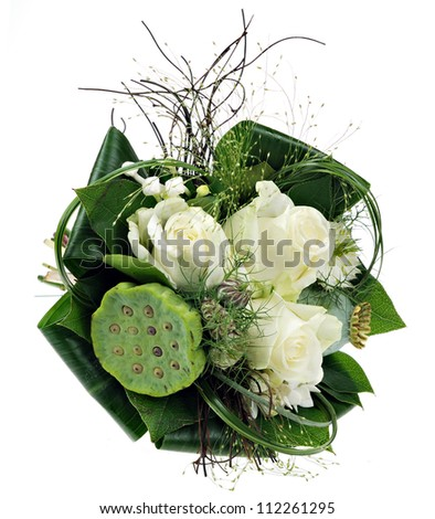 Small bouquet, posy, of roses for bride or bridesmaid. Isolated on white - stock photo
