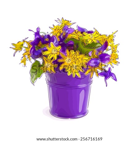 Small bouquet with meadow flowers in a bucket.Raster version. - stock photo