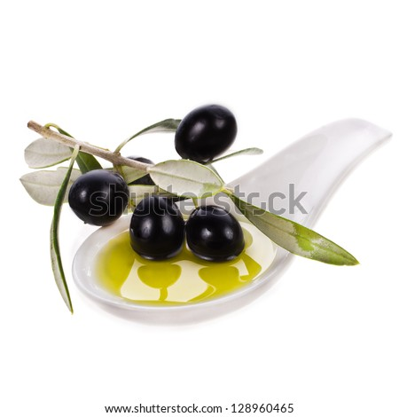 small bowl with olive oil, decorated with a small twig with black olives, fruit, isolated on white background - stock photo