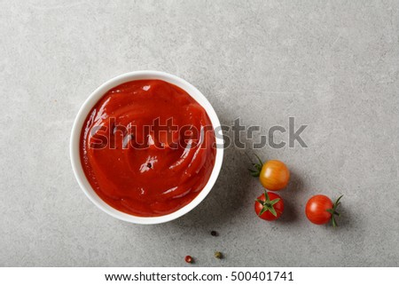 Small bowl with spice tomato sauce, food top view