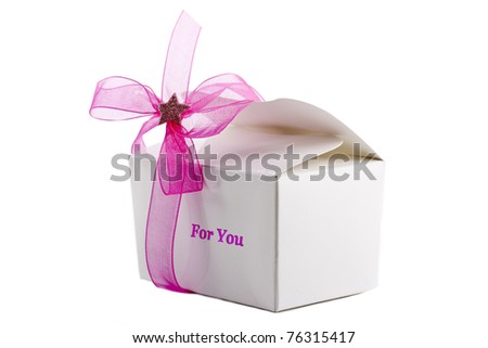 Small box of chocolates with pink bow isolated - stock photo