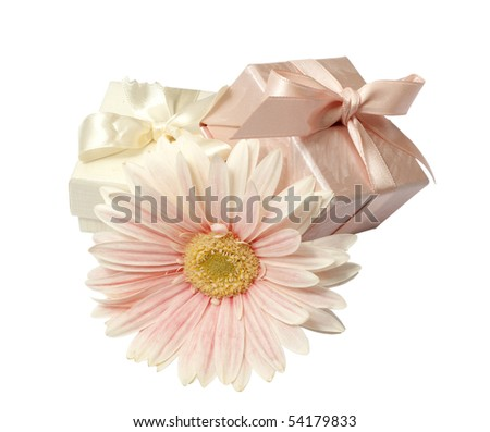 small boxes with ribbons and bows to wrap gifts - stock photo