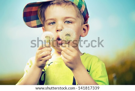 Small boy blowing dandelions - stock photo