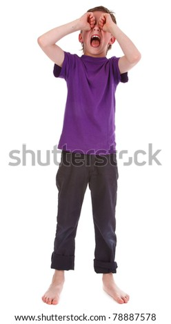 small boy crying against white background - stock photo