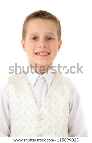 small boy in business suit isolated on white background - stock photo