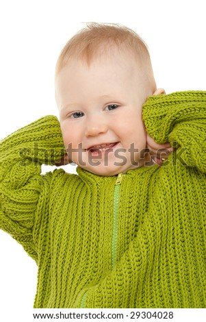 small boy in the jacket smiling, closeup portrait - stock photo