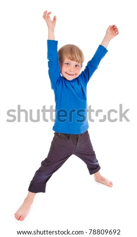 small boy making funny pose on white background