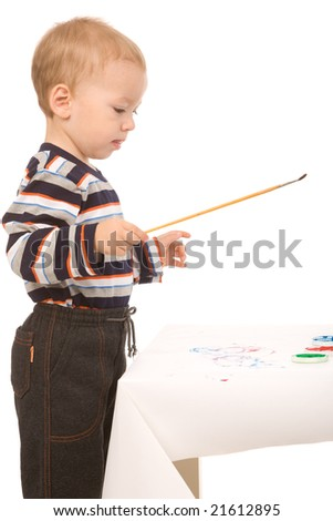 small boy paint on a white background