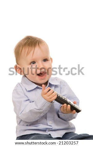 small boy play with telephone on a white background
