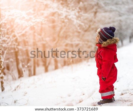 Small boy playing outdoor in snowy winter landscape. - stock photo