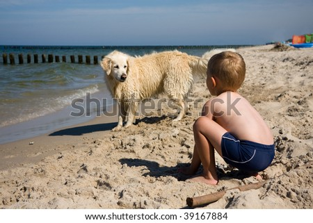 Small boy playing with a dog on a beach in summer day - stock photo