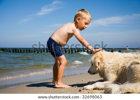 Small boy plays with a dog on a beach - stock photo