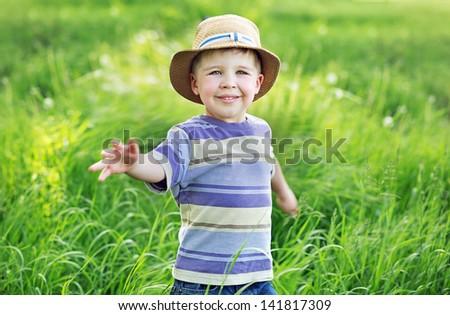 Small boy running - stock photo