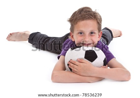 small boy with football on white background - stock photo