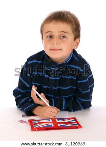 Small boy with his union jack pen and pencil case