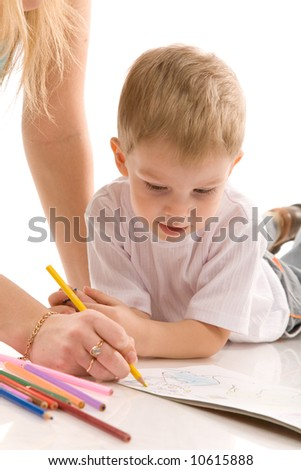 small boy with pencil on white background