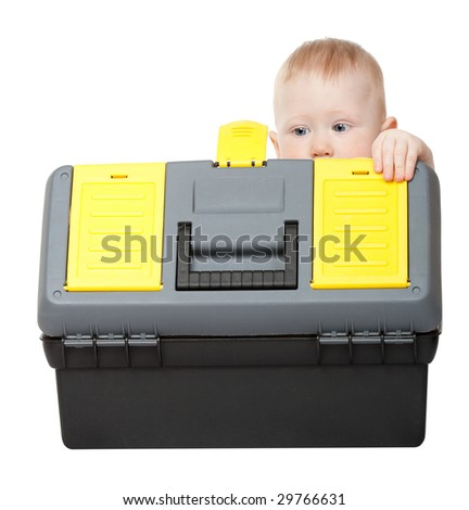 small boy with toolbox isolated on white - stock photo
