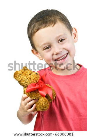 small boy with toy isolated - stock photo