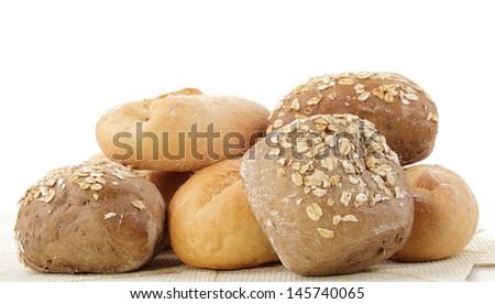 small bread on white - stock photo