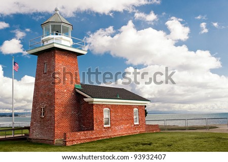Small brick lighthouse in Santa Cruz California - stock photo