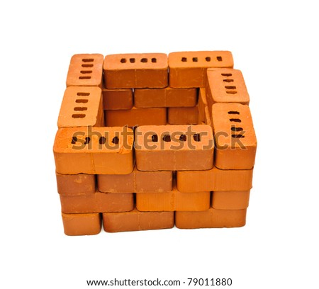 Small bricks for construction. Isolated on white background - stock photo