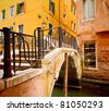 Small bridge in Venice - stock photo