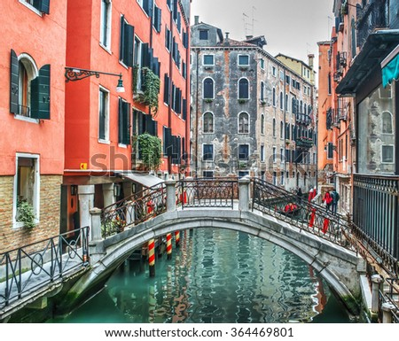 small bridge in Venice, Italy - stock photo