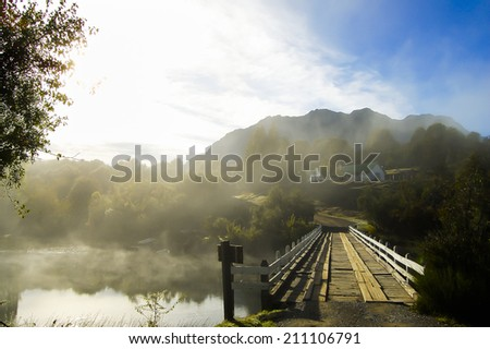 Small Bridge on Lake Hess - Patagonia - Argentina - stock photo