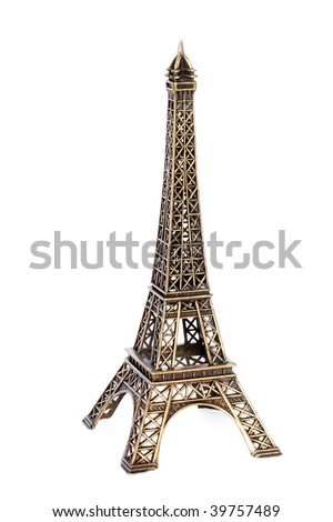 Small bronze copy of Eiffel tower figurine isolated on white background