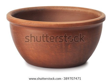 small brown clay bowl for sauce isolated on white - stock photo