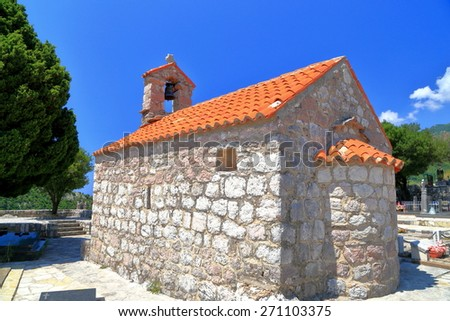 Small building of an Orthodox church from the Adriatic sea coast - stock photo
