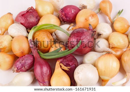 Small bulbs of red, white and yellow onions (Allium cepa) ready to be planted as sets or used for cooking - stock photo