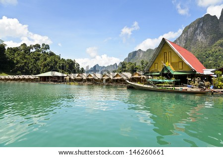 Small bungalow made of bamboo floating. Surrounded by mountains and water in Ratchaprapha Dam, Khao Sok National Park, Surat Thani Province, Thailand.