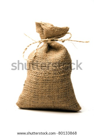 small burlap sack for ground coffee or bean made in Nicaragua - stock photo