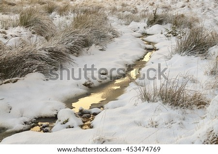 Small burn covered in snow, Forsinard Scotland/