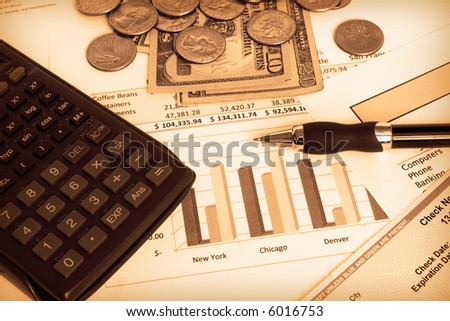 Small business finances in sepia - stock photo