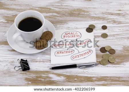 Small Business. Handwriting on a napkin with a cup of coffee - stock photo
