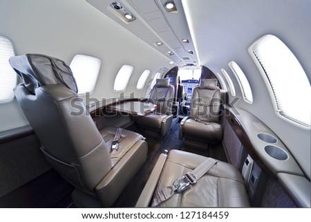 Small business jet plane interior - stock photo