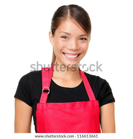 Small business owner portrait. Isolated portrait of young entrepreneur wearing apron. Mixed-race Asian Chinese / Caucasian female shop owner or alike isolated on white background. - stock photo