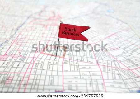 Small Business pin flag on map                                - stock photo