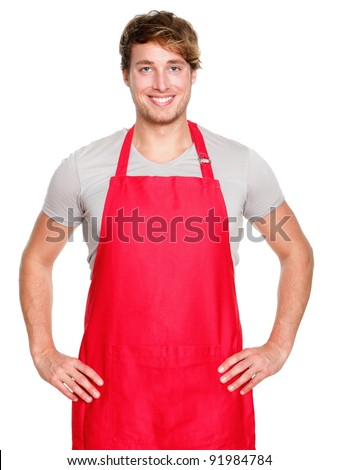 Small business shop owner. Apron man smiling proud and happy isolated on white background. Young entrepreneur or shop assistant. Young Caucasian male model. - stock photo