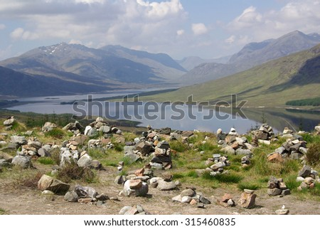 Small cairn above Loch Loyne, Scotland - stock photo