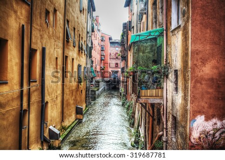 small canal in Bologna downtown, Italy - stock photo