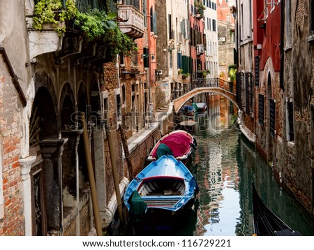 Small canal in Venice. Italy - stock photo