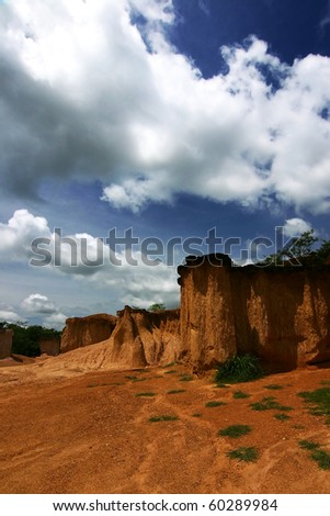 Small Canyon Under A Blue Sky, Northern Thailand - stock photo